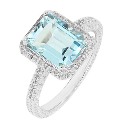 4 C.T.T.W Art Deco Sterling Silver Emerald Cut Genuine Blue Topaz Halo Ring