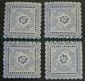 Dolls-House-Mini-Table-Cloth-Craft-use-Plastic-White-Lace-Squares-Pack-of-4