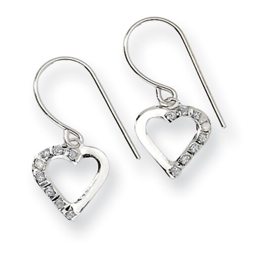 Ladies 14k White Gold Diamond Heart Diamond Fascination Dangle Earrings
