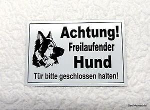 Freilaufender Hund,hundeschild,schäferhund,gravurschild,12 X 8 Cm,weiß Achtung Schilder & Plaketten
