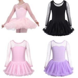 Girls Gymnastics Ballet Dress Toddler Kids Leotard Tutu Skirt Dancewear Costume