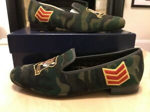 1ed9b1070c7 Image is loading POLO-RALPH-LAUREN-Willard-Camo-Suede-Slipper-Size-