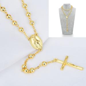 DG-32-034-Stainless-Steel-Gold-Beaded-Rosary-Virgin-Mary-Jesus-Cross-Necklace-Gift
