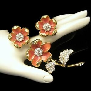 NOLAN-MILLER-Vintage-Brooch-Pin-Earrings-Coral-Enamel-Rhinestones-Set-Flowers