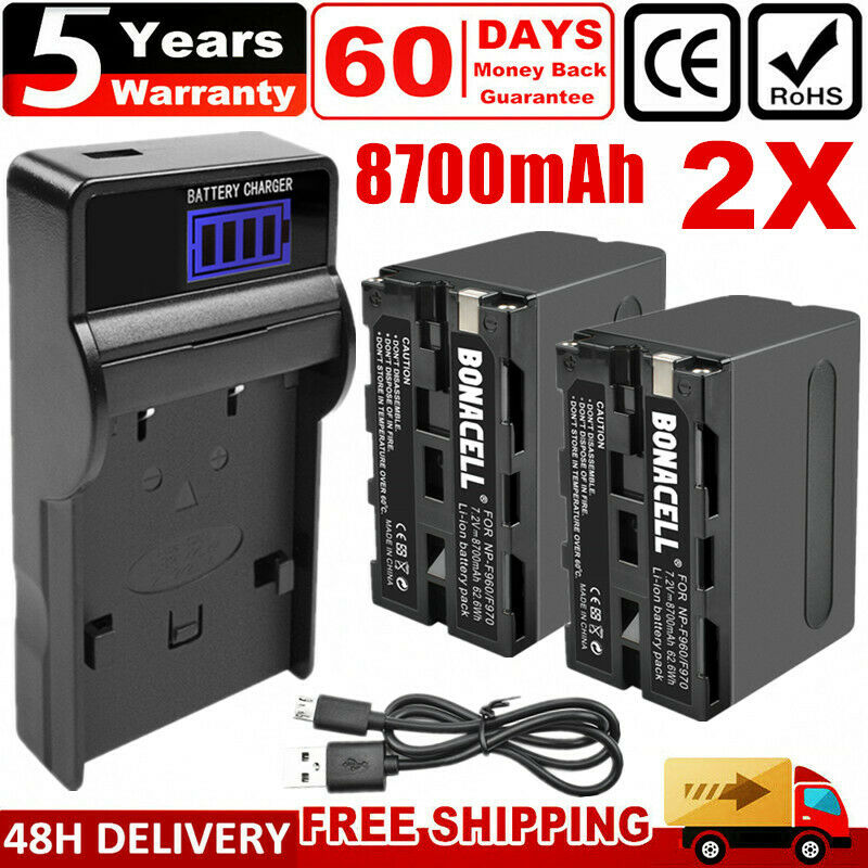 2x 8700mAh NP-F960 Battery + USB LCD Charger for Sony NP-F970 NP-F950 NP-F930 UK
