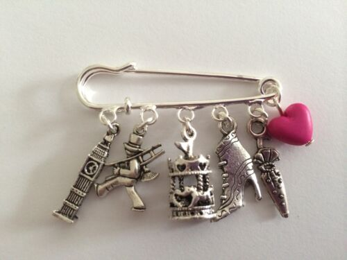 MARY POPPINS inspired  charms gift present Silver Tone Kilt Pin Brooch