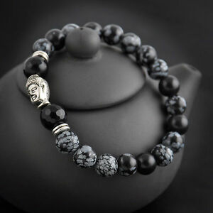 Lucky-man-Bead-8mm-Natural-Fashion-White-spot-stone-Tibet-silver-Buddha-bracelet