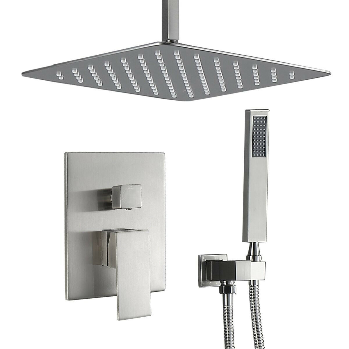 Brushed Nickel Shower Faucet Set Rain Shower Head System Wall Mounted Bathroom For Sale Online Ebay