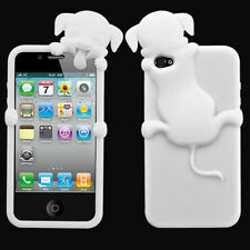 For iPhone 4 4S Rubber SILICONE Skin Soft Gel Case Phone Cover White Peeking Dog