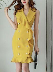 Caricamento dell immagine in corso Elegante-raffinato-vestito-abito-corto- tubino-giallo-morbido- c17f941eb9c