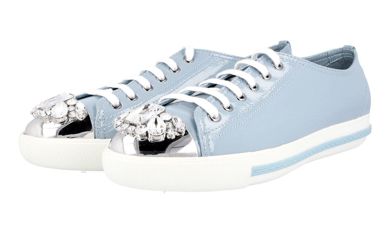 LUXURY MIU MIU SNEAKERS SHOES 5E8557 blueE RHINESTONE NEW 40 40,5 UK 7