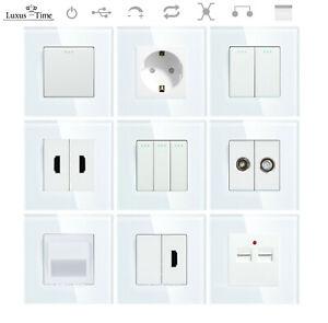 LUX Wipp Steckdosen Lichtschalter Schalter Wechselschalter Glasrahmen Weiß GT300