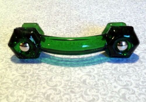 Emerald Green Glass Depression Cabinet Pull Drawer Handle Vintage Style 1