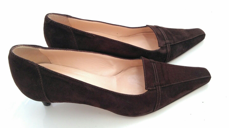 HOBBS braun suede court schuhe Größe 3.5 --MINT-- 100% Leather