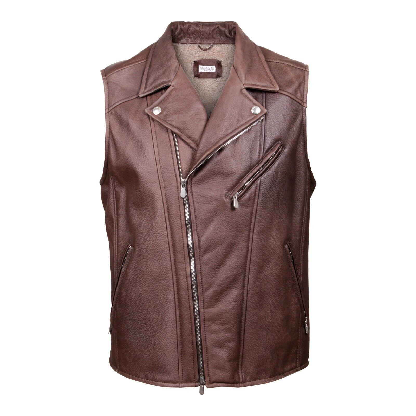 Brunello Cucinelli full fur lined Leder motto vest NEW XL 4995