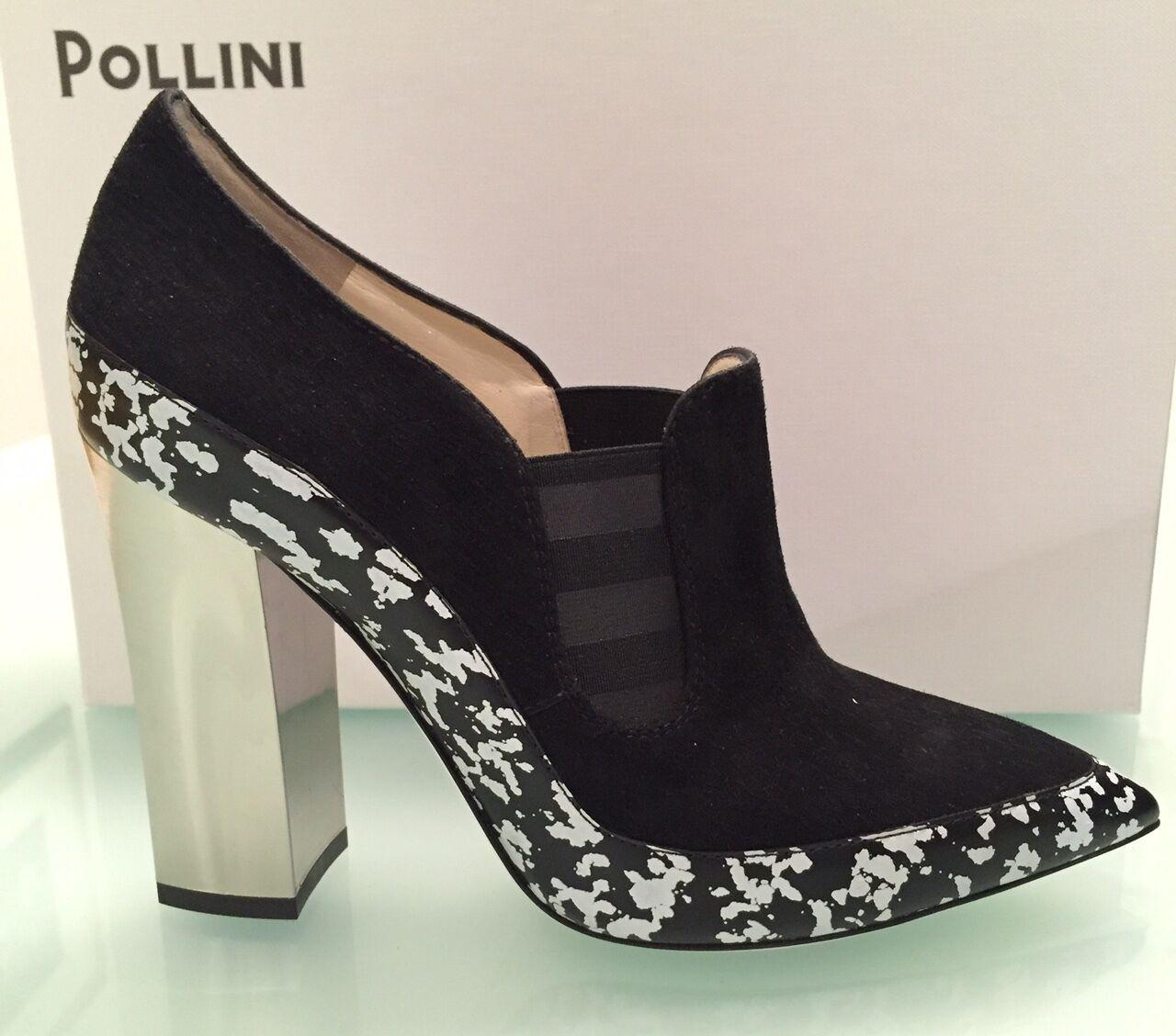 Pollini Pollini Pollini Gamuza Estilo Mocasín Couture Negro Mirrow Tacones Altos Bombas 37.5 Italia  ofrecemos varias marcas famosas