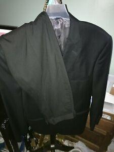 Pronto Uomo Platinum Men 48R Black Pinstripe 100% Wool 2 Piece Suit W/ Pants 32W