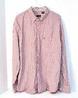 IZOD Men's Dress Shirt Size XL X-Large Button Down Long Sleeve Red Striped