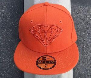 New Diamond supply co. New Era 59Fifty Brillant Orange Skate Fitted ... 1bad4e18f1b