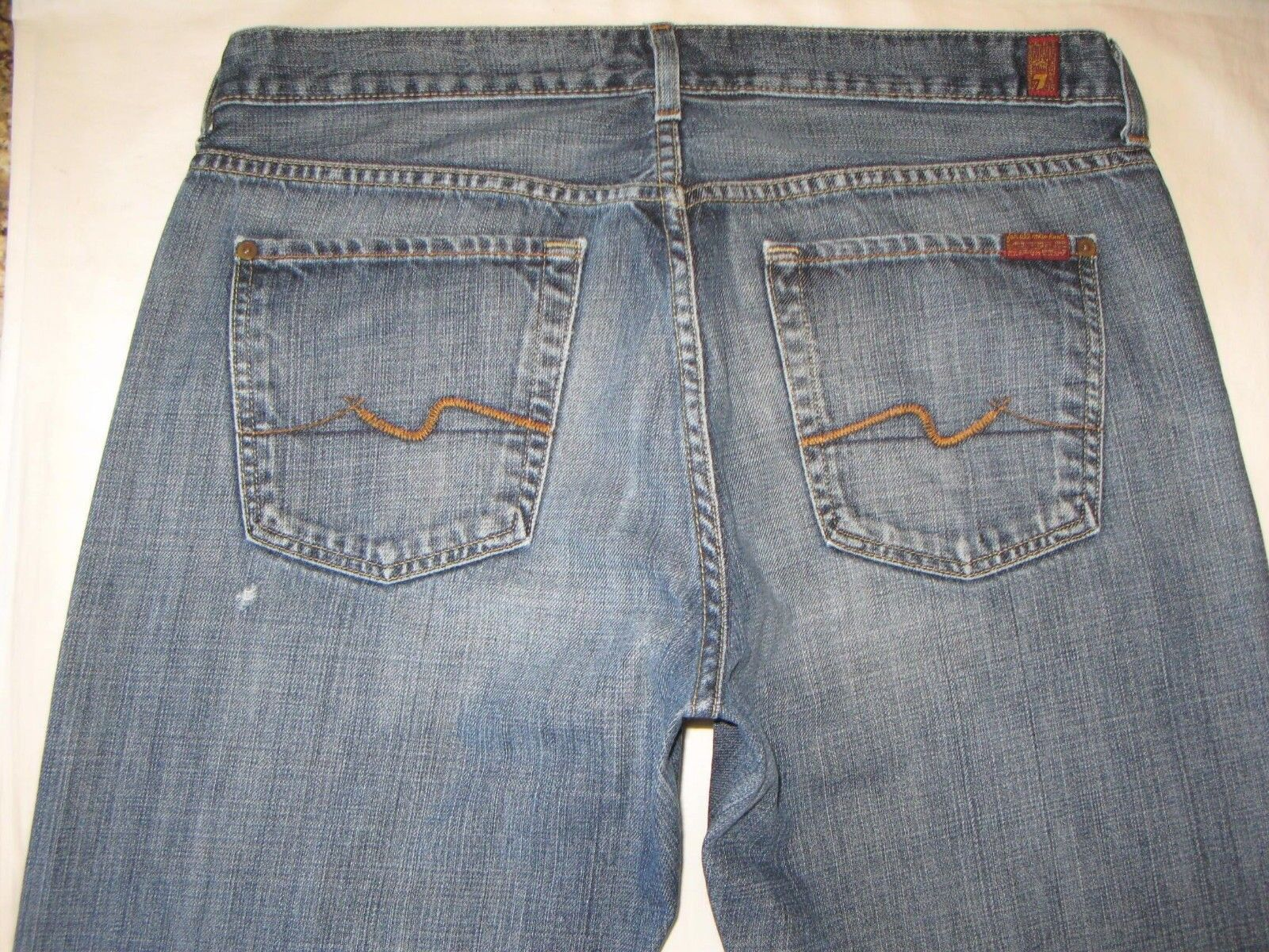 7 For all Mankind Men's Relaxed Jeans  34 X 31 100% Cotton Distressed Wash