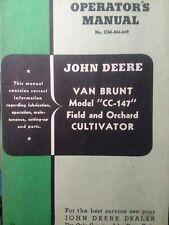 John Deere Van Brunt Cc 147 Cultivator Tractor Implement Owner Amp Parts Manual