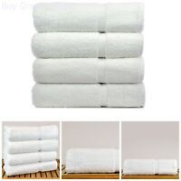Bath Towel White Turkish Cotton Bathroom Hotel Spa Soft Lot Of 4 White