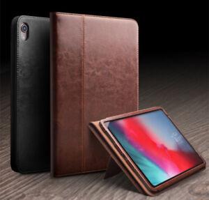 QIALINO-Klassisch-Echtleder-Smart-Case-Schutz-Huelle-fuer-iPad-Pro-12-9-2018-Braun