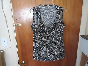 Womens-Lane-Bryant-Size-14-16-Black-amp-White-Layered-Geometric-Sleeveless-Top