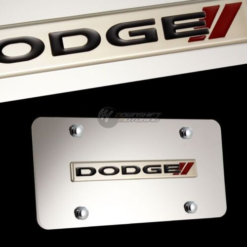 DODGE STRIPES //// Stainless Steel License Plate Frame with Cap 2PCS FRONT /& BACK