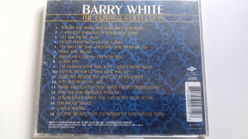 Barry White: Ultimate Collection, pop