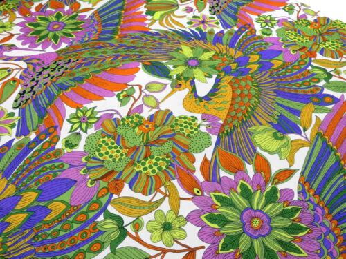 Stoff Viskose Jersey Blumen Floral Fasane Vögel weiß grün blau bunt Kleiderstoff