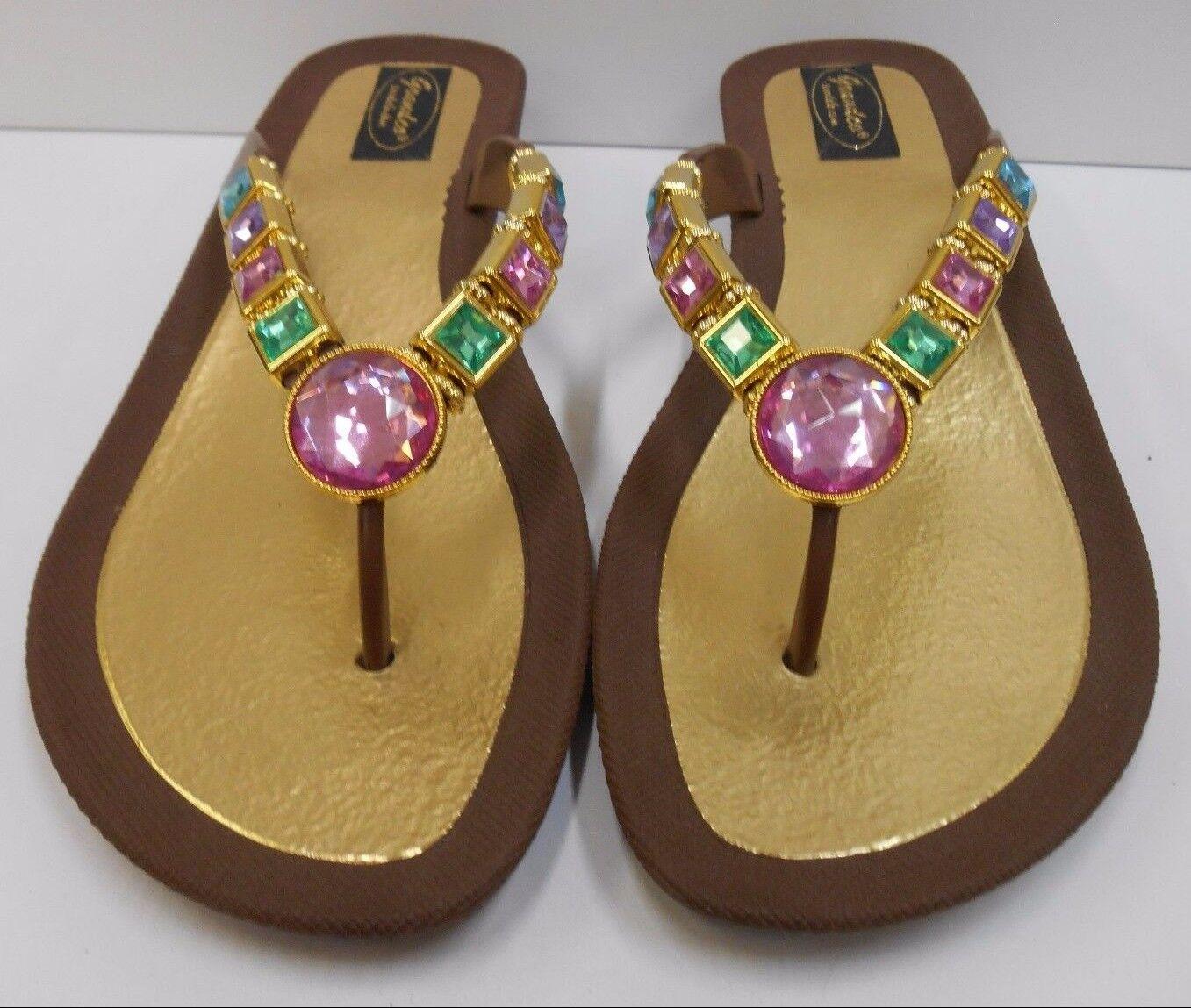 GRANDCO SANDALS Beach Pool THONG BLING Brown PASTEL Gemstones DRESSY Flip Flops