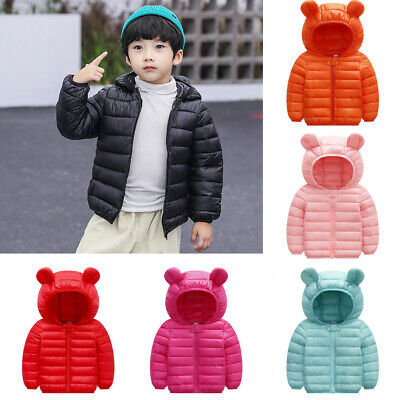 Toddler Baby Girls Winter Windproof Coat Bear Ears Hooded Thick Outerwear Jacket