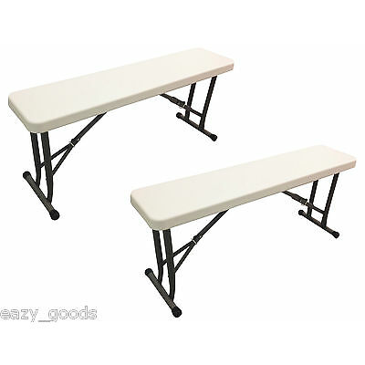 2 x FOLDING PLASTIC PICNIC BENCH PORTABLE OUTDOOR CAMPING GARDEN PARTY BBQ