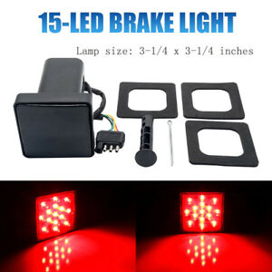 2-039-039-Trailer-Truck-Hitch-Towing-Receiver-Cover-15-LED-Brake-Light-Cover-W-Pin-Red