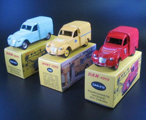 Lot of 3 1:43 Citroen 2CV Atlas Dinky toys 560 DAN-Toys DAN-019 DAN-021