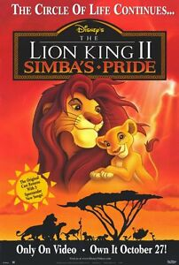 The Lion King Ii Simba S Pride Movie Poster 27x40 883311445520 Ebay