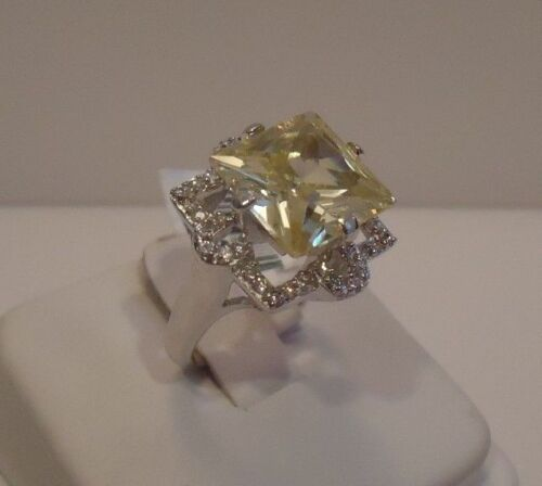 925 STERLING SILVER LADIES FINE WEDDING DESIGNER RING//W 7 ct DIAMOND SZ 5-9