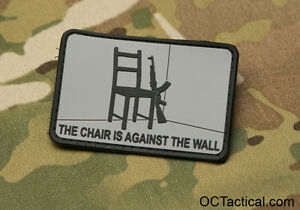 the chair is against the wall red dawn morale patch grey and black ebay. Black Bedroom Furniture Sets. Home Design Ideas