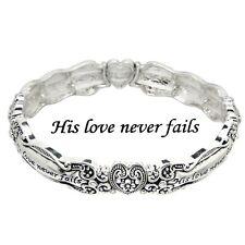 Spoon Jewelry Bracelet Stretch Bangle Message Bangle Prayer SILVER His Love