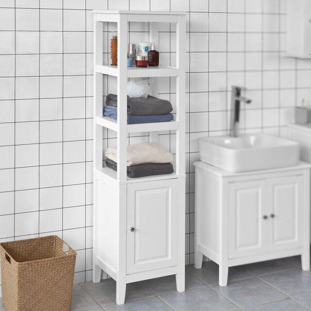 Fabulous Sobuy Wood Standing Tall Boy Bathroom Storage Cabinet Unit White Frg205 W Uk Home Interior And Landscaping Oversignezvosmurscom
