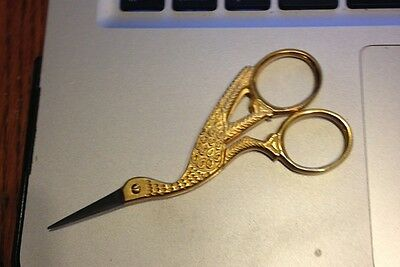 """Dinky Dyes Large Gold Stork Unique Scissors 4"""" Embroidery Very Sharp"""