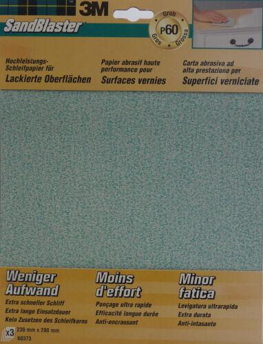 60373 Packung mit 3 Stück 3M SandBlaster Schleifbögen P60 Grob