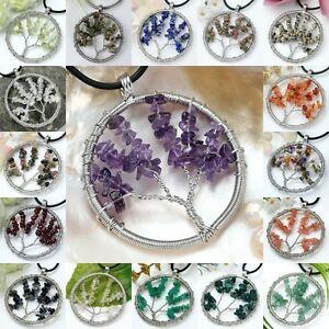 Natural-Gem-Gravel-Stone-Weaving-Round-Shape-Tree-Of-Life-Beads-Pendant-Jewelry