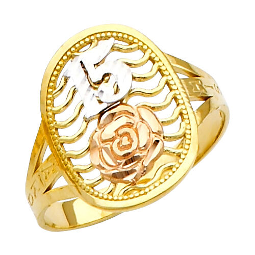 14k Drei Farbig Gold Sweet Quinceaã ± Epoche 15-aã ± Os Ring Mit Rose