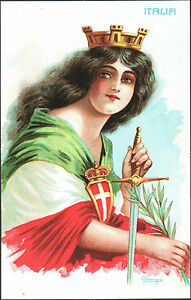 CARTOLINA-ILLUSTRATA-D-039-EPOCA-DONNA-COSTUME-ITALIA-TURRITA-1916-BRUNAZZI