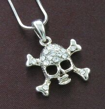 Clear Halloween Skull Crosbone Crystal Necklace Pendant