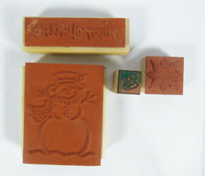 Lot-of-4-Winter-Holiday-Theme-Rubber-Stamp-Wooden-Mounted