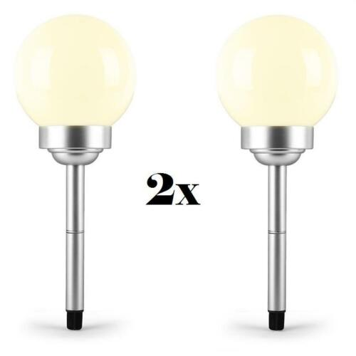 2x BODENSTRAHLER GARTENLEUCHTE 20X20X51 CM RUND WEIß LED SOLARKUGEL FLOWER LAMPE