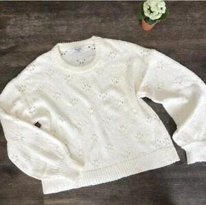 Madewell Women's Pointelle Pullover Sweater Floral Ivory Balloon Sleeve Medium